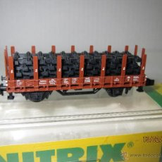 Trenes Escala: VAGÓN CON PUNTALES CARGA DE VIAS EN ESCALA *N* DE MINITRIX. Lote 47963804