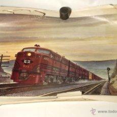 Trenes Escala: CUATRO LÁMINAS DE TRENES AMERICANOS. ORIGINALES DE LOS AÑOS 50-60. FIRMADAS POR HOWARD L. FOGG. . Lote 49864030