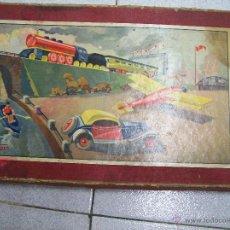 Trenes Escala: TREN, VAGON, COCHE, AVION Y BARCO EN MADERA CON SU CAJA ORIGINAL DE CARTON. AÑOS 40. Lote 50221867