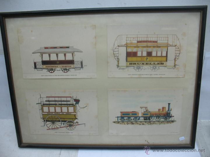 marco con cuatro láminas de locomotora a vapor, - Comprar en ...