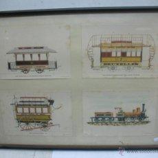 Trenes Escala: MARCO CON CUATRO LÁMINAS DE LOCOMOTORA A VAPOR, TRANVÍA, CARRUAJE. Lote 50887056