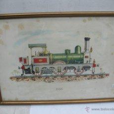 Trenes Escala: MARCO CON LÁMINA DE LOCOMOTORA A VAPOR 1856. Lote 50887082