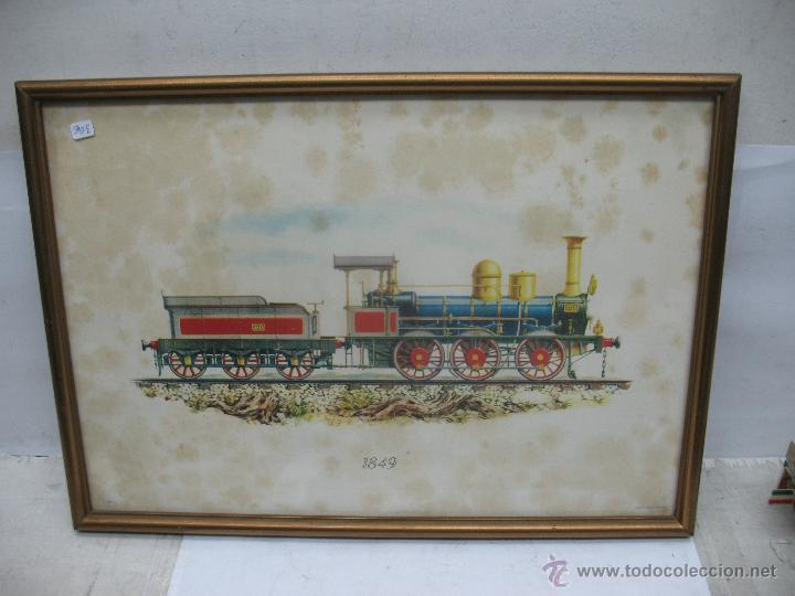 MARCO CON LÁMINA DE LOCOMOTORA A VAPOR 1849 (Juguetes - Trenes - Varios)