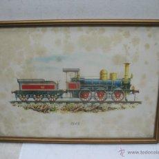 Trenes Escala: MARCO CON LÁMINA DE LOCOMOTORA A VAPOR 1849. Lote 50887143