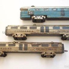 Trenes Escala: ANTIGUO Y PRECIOSO TREN FABRICADO EN MADERA. ORIGINAL. AÑOS 1950S. MIDE: 90 CTMS. Lote 57870556