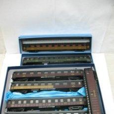 Trenes Escala: LOTE DE 7 COCHES DE PASAJEROS Y FURGÓN PLM - ESCALA H0. Lote 57987368