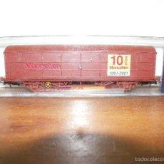 Trenes Escala: (ELECTROTREN) VAGON DE MERCANCIAS 10 ANIVERSARIO MAQUETREN ESCALA H0 REF: 1758K. Lote 60088399