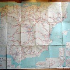 Mapa de los ferrocarriles españoles. Edita: Renfe. Año 1968. Julio