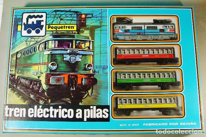 TREN ELECTRICO A PILAS PEQUETREN SEINSA REF.502 TREN VIAJEROS COLORES. CAJA ORIGINAL. NUEVO (Juguetes - Trenes - Varios)