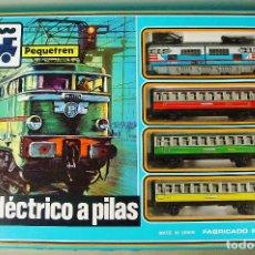 Trenes Escala: TREN ELECTRICO A PILAS PEQUETREN SEINSA REF.502 TREN VIAJEROS COLORES. CAJA ORIGINAL. NUEVO. Lote 70369217