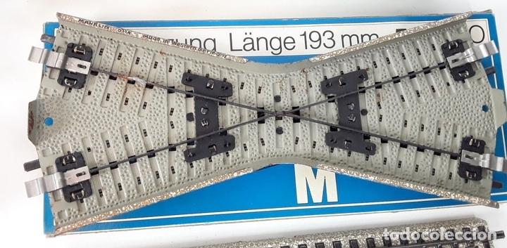 Trenes Escala: GRAN LOTE DE 235 VIAS MARKLIN Y ELECTROTEN. METAL. ESCALA H0. CIRCA 1960 (VER DESCRIPCION) - Foto 9 - 91430285