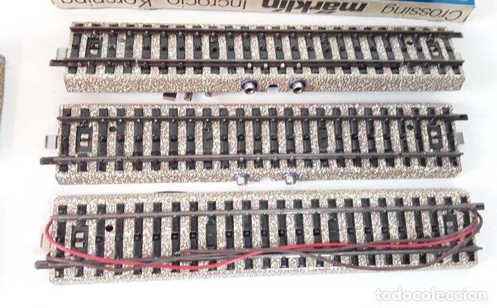 Trenes Escala: GRAN LOTE DE 235 VIAS MARKLIN Y ELECTROTEN. METAL. ESCALA H0. CIRCA 1960 (VER DESCRIPCION) - Foto 10 - 91430285
