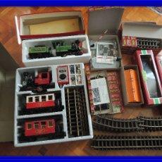 Trenes Escala: TREN LGB LEHMANN 14 MTS VIAS DOS LOCOMOTORAS 6 VAGONES EXTRAS VER VIDEO. Lote 104501887