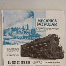 Trenes Escala: RECORTES DE REVISTAS TRENES ELECTRICOS MECANICA POPULAR MARZO 1949. Lote 111777484