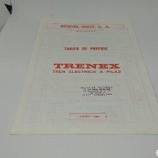 Trenes Escala: TARIFA DE PRECIOS TRENEX 7 ENERO 1988. Lote 117143630