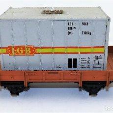 Trenes Escala: LGB LEHMANN VAGÓN PLATAFORMA CON CONTENEDOR ESCALA G. Lote 119522715