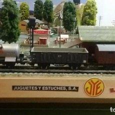 Trenes Escala: COMPOSICION VAGONES MERCANCIAS JYESA CISTERNA, BORDES ALTOS Y CERRADO. Lote 122235339