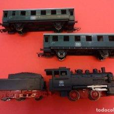 Trenes Escala: PIKO H0. LOTE LOCOMOTORA + TENDER + 2 VAGONES PASAJEROS.. Lote 125031847