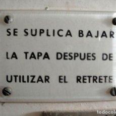 Trenes Escala: RENFE. PLAQUITA WC. Lote 128013535