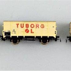 Trenes Escala: CONJUNTO PIKO VAGONES TUBORG H0 3 UNIDADES. Lote 128239651