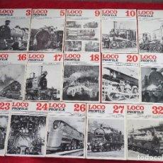 Trenes Escala: LOTE 16 REVISTAS - LOCO PROFILE - AÑOS 70 - MAQUETAS LOCOMOTORAS TRENES ANTIGUOS. Lote 132265598