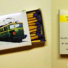 Trenes Escala: CAJA DE CERILLAS LOCOMOTORA 7.400 DE RENFE. Lote 136526350