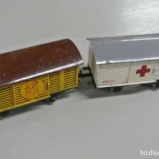 Trenes Escala: CUATRO BAGONES DE TREN. MARCA JOSFEL / JOS FEL. Lote 142268770