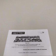 Trenes Escala: J- INSTRUCCIONES DE CONSERVACION Y ENGRASE IBERTREN LOCOMOTORA ESC N REF 012. Lote 148060042