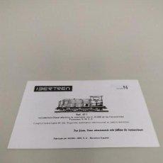 Trenes Escala: J- INSTRUCCIONES DE CONSERVACION Y ENGRASE IBERTREN LOCOMOTORA ESC N REF 011 . Lote 148061746