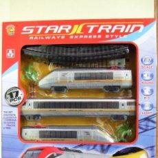 Trenes Escala: TREN EUROSTAR - STAR TRAIN RAILWAYS EXPRESS ESCALA 1:87 LOCOMOTORA JUGUETE FERROCARRIL LUZ Y SONIDO. Lote 148546758