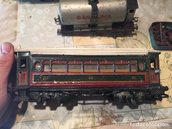 Trenes Escala: Antiguos 4 tren / trenes de juguete de varias marcas como paya de los años 40-50 - Foto 4 - 151167978