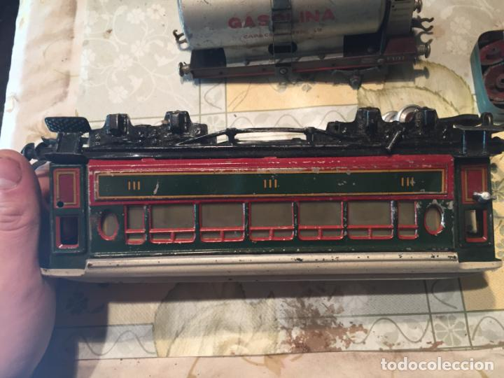 Trenes Escala: Antiguos 4 tren / trenes de juguete de varias marcas como paya de los años 40-50 - Foto 8 - 151167978