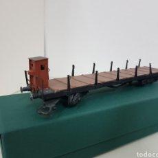 Trenes Escala: VAGÓN DE MERCANCÍAS ABIERTO ESCALA H0 19 CM CON GARITA. Lote 155781785