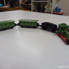 Trenes Escala: TREN MINI LOCOMOTORA VAGÓN CARBÓN Y 2 VAGONES PASAJEROS SOMA 1989 (MADE IN CHINA). Lote 155838202