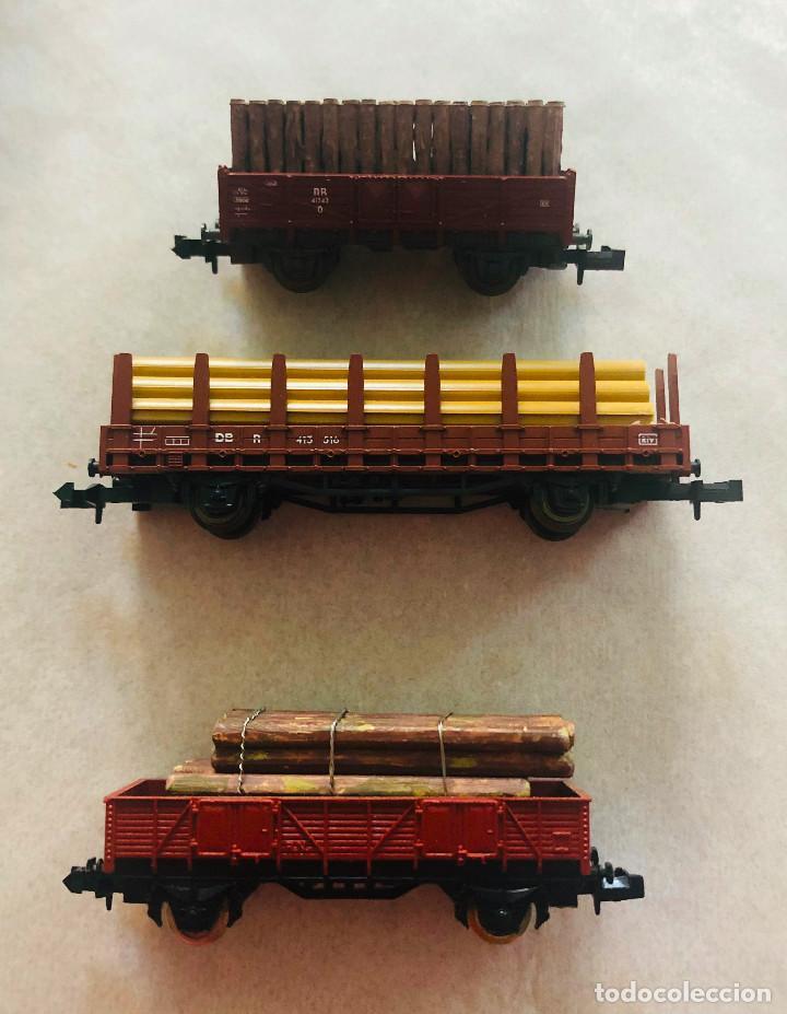 Trenes Escala: Lote vagones escala n. Mercancias con carga de madera. Dieferentes marcas - Foto 2 - 214159067