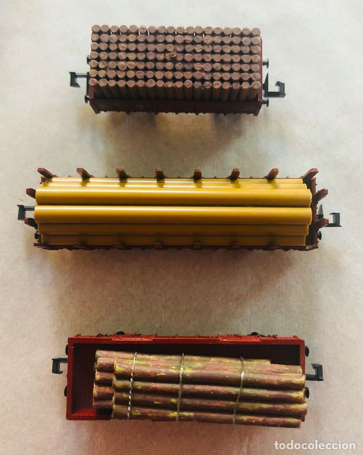 Trenes Escala: Lote vagones escala n. Mercancias con carga de madera. Dieferentes marcas - Foto 3 - 214159067