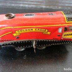 Trenes Escala: LOCOMOTORA DE HOJALATA - GOLDEN EAGLE 2509 - MECANISMO A CUERDA - MADE IN ENGLAND - FUNCIONA. Lote 170290904