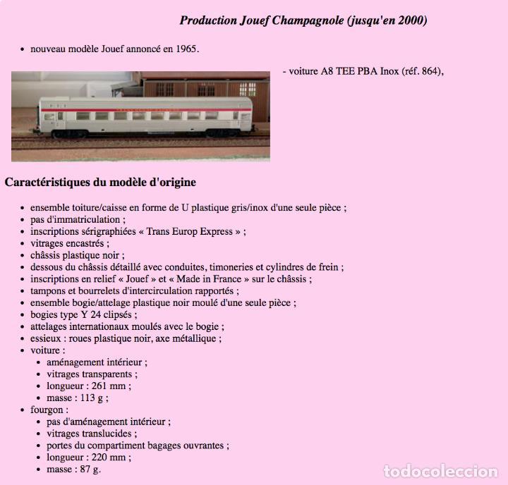 Trenes Escala: JOUEF COCHE DE PASAJEROS A8 TEE PBA INOX - ESCALA HO - (REF. 864) VINTAGE 1965 - Foto 9 - 171368620