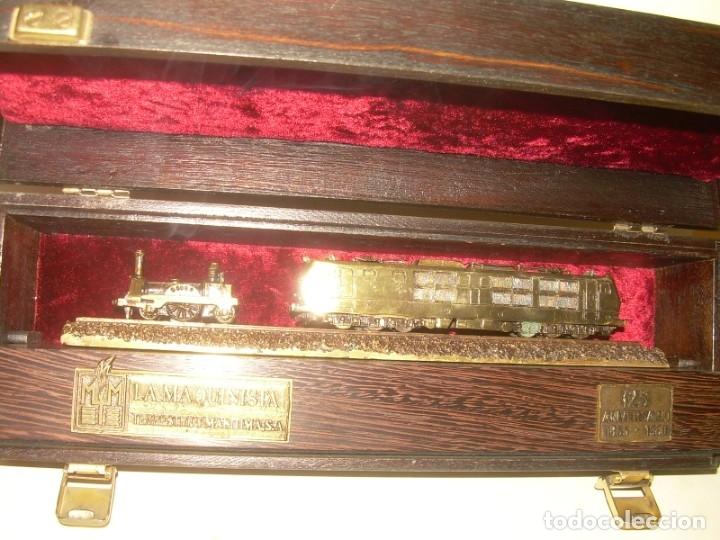125 ANIVERSARIO....LA MAQUINISTA...TREN DE BRONCE EN CAJA DE MADERA ORIGINAL.1855/1980. (Juguetes - Trenes - Varios)
