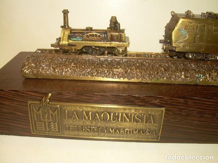Trenes Escala: 125 ANIVERSARIO....LA MAQUINISTA...TREN DE BRONCE EN CAJA DE MADERA ORIGINAL.1855/1980. - Foto 3 - 174554445