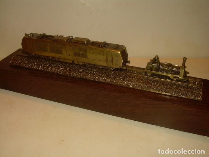 Trenes Escala: 125 ANIVERSARIO....LA MAQUINISTA...TREN DE BRONCE EN CAJA DE MADERA ORIGINAL.1855/1980. - Foto 6 - 174554445