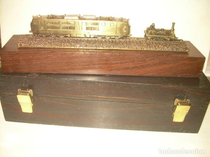 Trenes Escala: 125 ANIVERSARIO....LA MAQUINISTA...TREN DE BRONCE EN CAJA DE MADERA ORIGINAL.1855/1980. - Foto 7 - 174554445