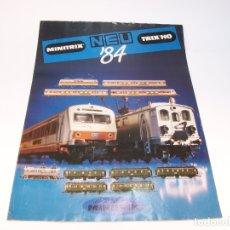 Trenes Escala: CATÁLOGO DE TRENES. NEU. MINITRIX.1984. HO. NEW ITEMS. EN ALEMÁN. 4 PP.. Lote 175851183
