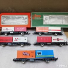 Trenes Escala: COMPOSICIÓN 5 VAGONES TECO CONTENEDOR. PERFECTO ESTADO.. Lote 176335718