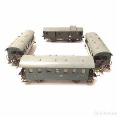 Trenes Escala: CURIOSO LOTE DE 4 VAGONES TRIX MODELL EXPRESS H0 CON INSTALACIÓN ELÉCTRICA CASERA. Lote 183529931