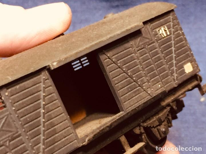 Trenes Escala: vagón de tren hojalata jyesa mercancías verde completo a falta de puertas ibi españa 12,5 x 3,5 cm - Foto 2 - 183973518