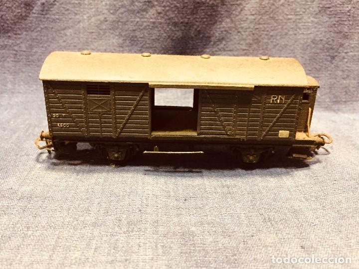 Trenes Escala: vagón de tren hojalata jyesa mercancías verde completo a falta de puertas ibi españa 12,5 x 3,5 cm - Foto 4 - 183973518