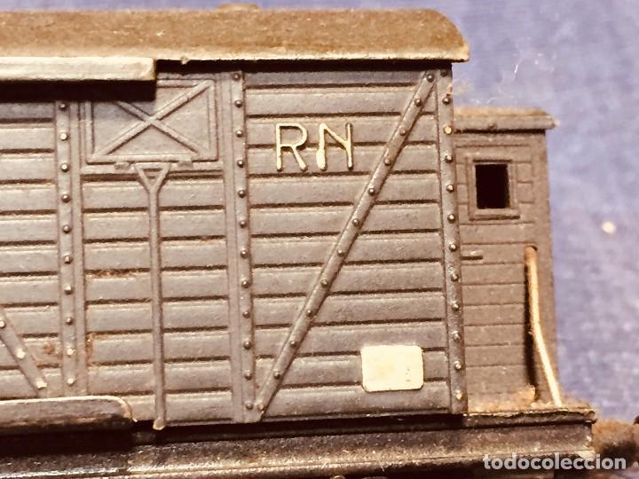 Trenes Escala: vagón de tren hojalata jyesa mercancías verde completo a falta de puertas ibi españa 12,5 x 3,5 cm - Foto 12 - 183973518