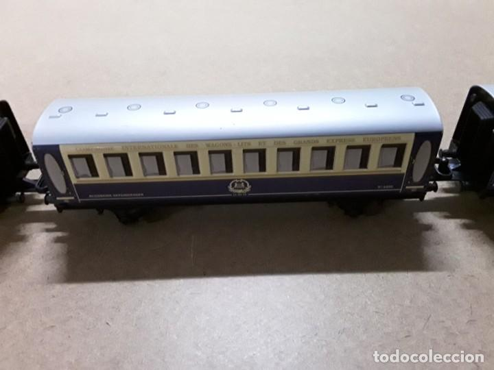 Trenes Escala: Tren pequetren orient express,locomotora y 3 vagones - Foto 3 - 184573806