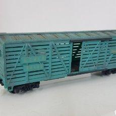 Trenes Escala: VAGÓN MERCANCÍAS LARGO CON PUERTAS CORREDERAS CELESTE SANTA FE 80 680 PARA GANADO ESCALA H0 15CMS. Lote 192892548